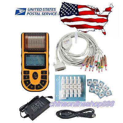 Us Stock Fda Handheld Ecgekg Digital 1 Channel 12-lead Software Printer Ecg 80a