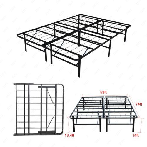 Modern Full Size Bi-Fold Folding Platform Metal Bed Frame Ma