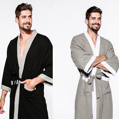 US Mens Bathrobe 100% PURE Cotton Hotel Waffle Lightweight Dressing Gown Robe