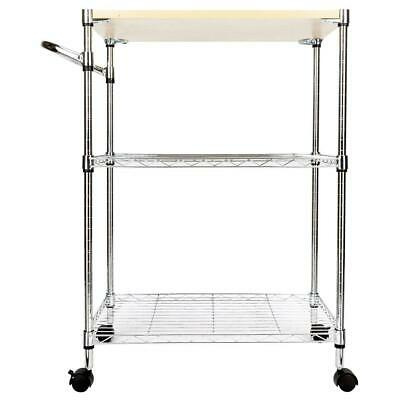 3-Tier Bakers Rack Storage Rack Microwave Oven Stand Kitchen Island Rolling US