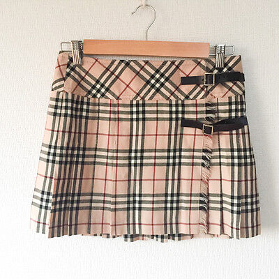 Authentic BURBERRY LONDON Blue Label Skirt Check size 38 Cotton Made in Japan VG
