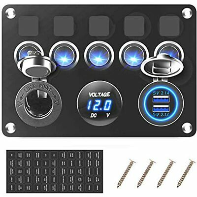 5 Gang Boat Rocker Switch Panel Waterproof Marine Toggle Switches 12v Blue Led