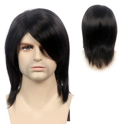 Mens Wigs Medium Length Long Straight Cosplay Party Synthetic Hair Costume