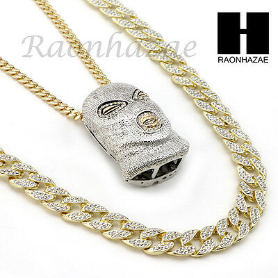 ICED OUT SV GOON MASK PENDANT 6mm CUBAN/12mm ICED OUT CUBAN CHAIN NECKLACE SET 9](Goon Mask)