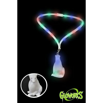 LOT OF 24 LED POLAR BEAR NECKLACE - LIGHT UP BRIGHT FUN FAVOR PARTY LANYARD  ](Light Up Necklaces Bulk)