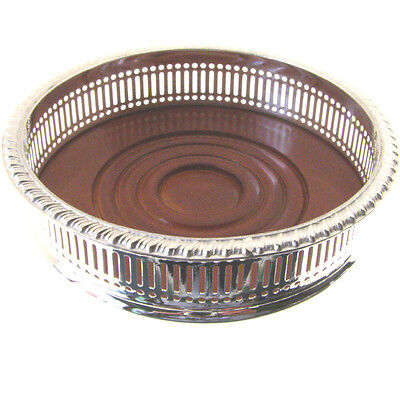 SILVER PLATE WINE BOTTLE COASTER. TOP QUALITY BRAND NEW ENGLISH WINE COASTER