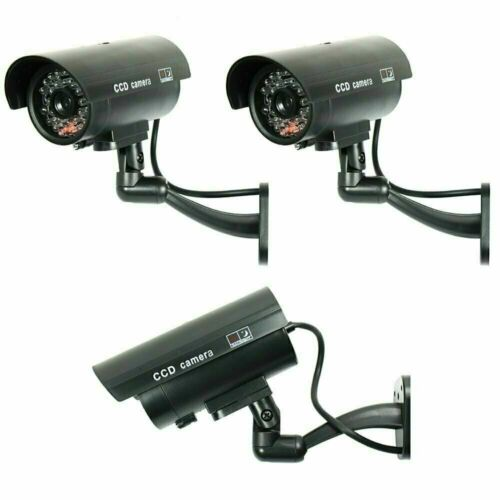 3 Pack IR Bullet Fake Dummy Surveillance Security Camera with Record Light-Black