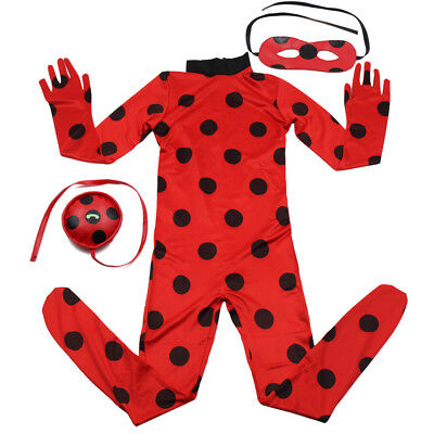 Ladybug Costume With Wig Kids Cosplay Jumpsuit Girl Halloween Suit - Costume With Wig