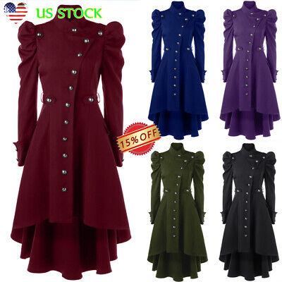 Steampunk Jacket Womens (Ladies Steampunk Victorian Gothic Coat Jacket Medieval Vintage Womens Long)