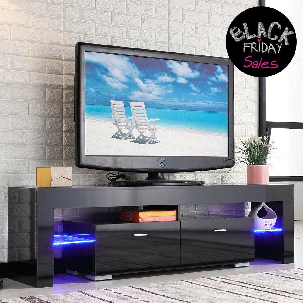 High Gloss Black TV Stand Unit Cabinet Console Furniture w/L