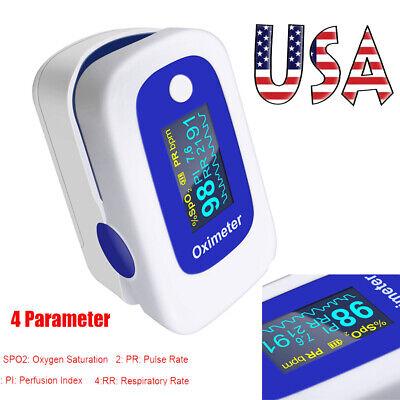 Oled Fingertip Pulse Oximeter Alarm Spo2 Respiration Rate Monitor Fdace