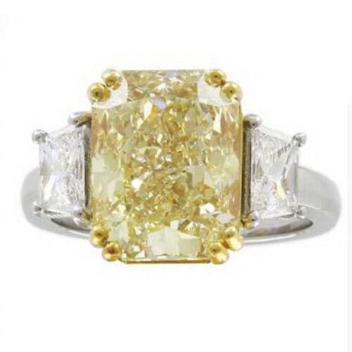 5 Carat Fancy Yellow Radiant cut Diamond GIA certified Platinum Engagement Ring