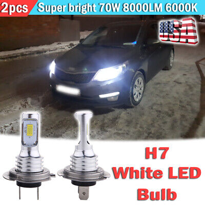 2pcs H7 LED Headlight Bulbs Kit High Low Beam Fog Light 70W 8000LM 6000K