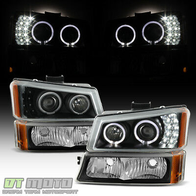 Black 2003-2006 Chevy Silverado 1500 LED Halo Projector Headlights+Bumper Lights (Halo Led Projector Headlights Bumper)
