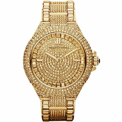 MICHAEL KORS MK5720 Camille Crysta Pave Quartz Stainless Steel Watch Free Shipp