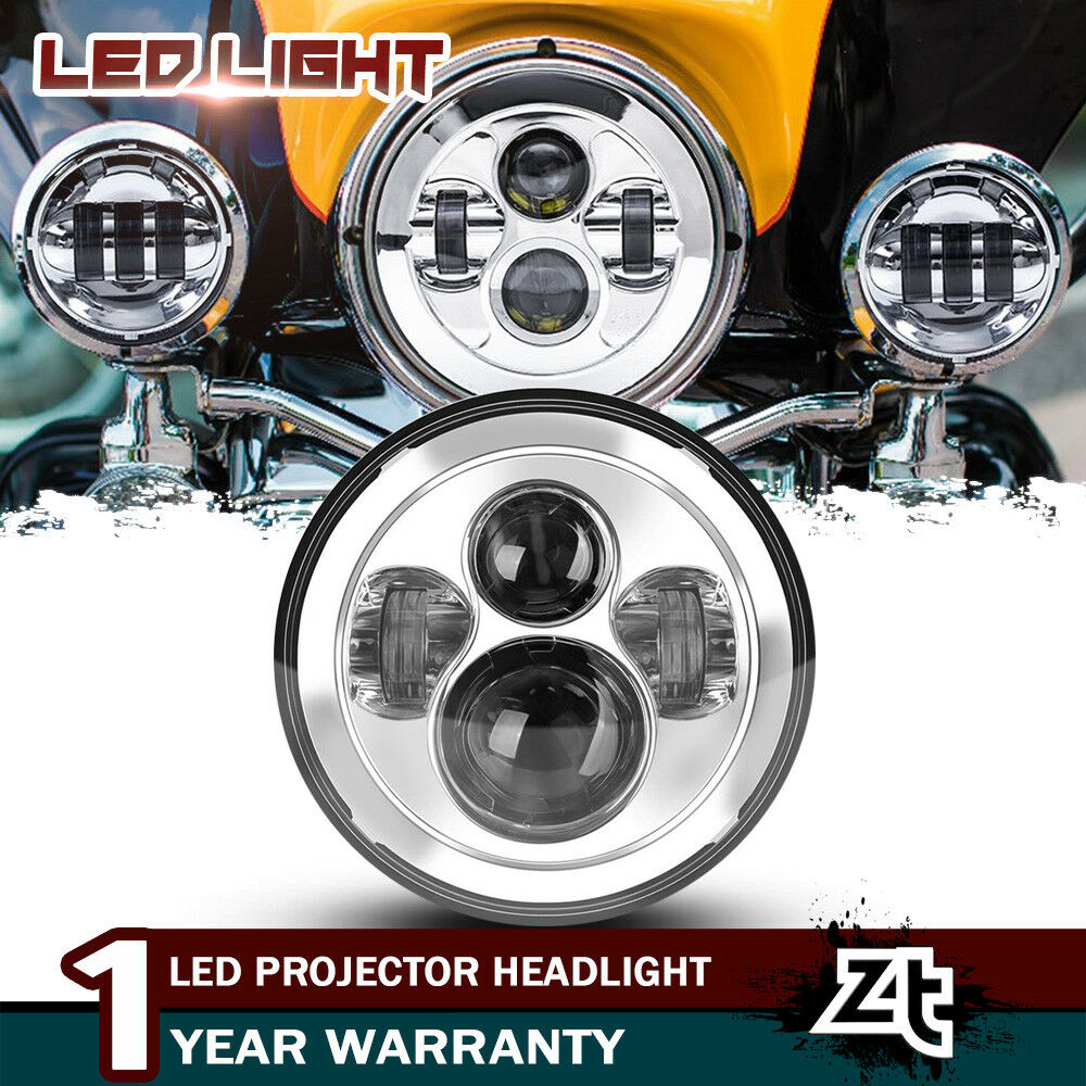 Chrome 7inch LED Headlight For Kawasaki Vulcan VN 500 750 800 900 1500 1600 1700