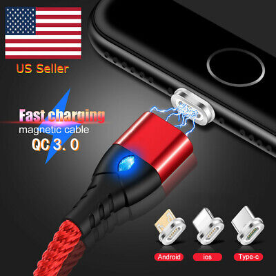3A Magnetic 1M 2M Type C Micro USB IOS Phone Charger Data Sync Charging Cable US