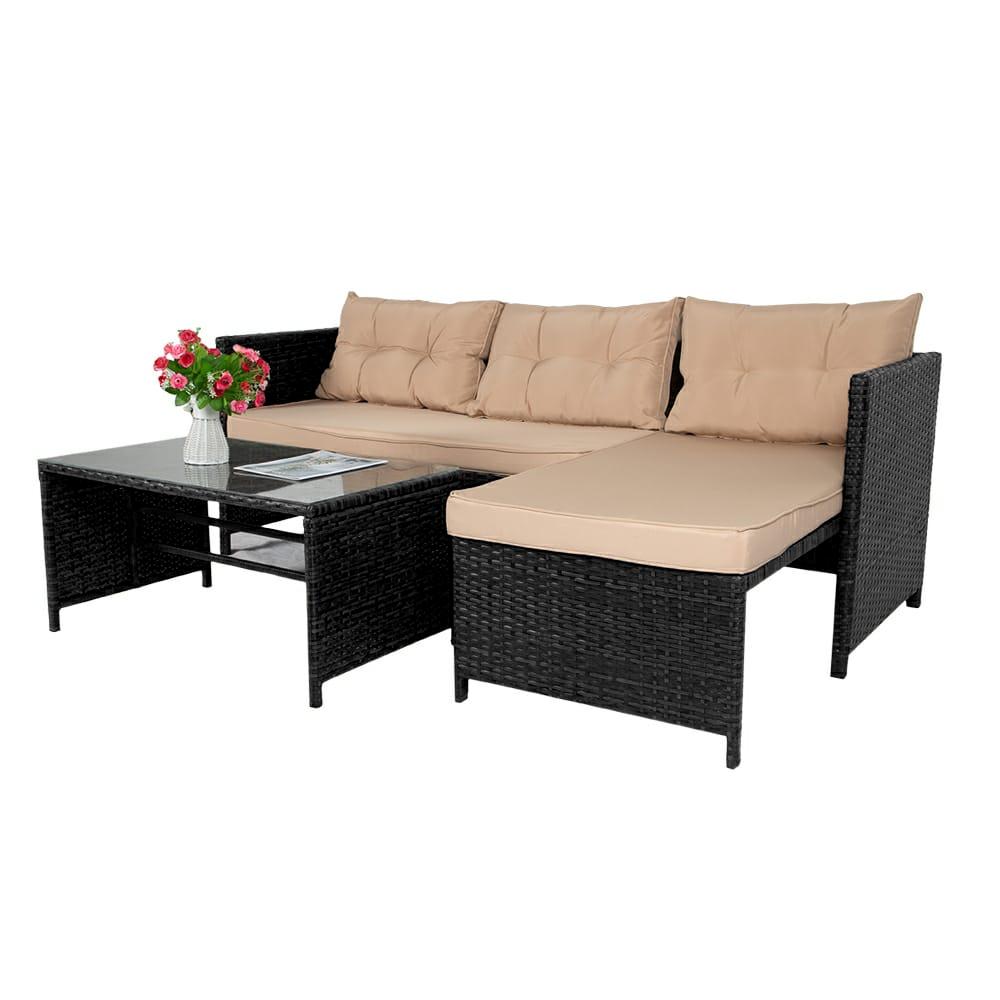 Garden Furniture - Quality Wicker Outdoor Rattan Furniture Garden Set Corner Sofa Patio With Table