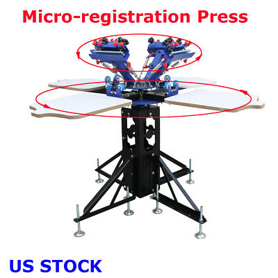 4 Color 4station Screen Printing Press Silk Screen Machine Rotary Printer Adjust