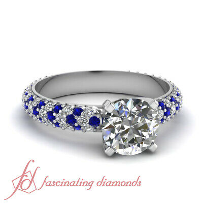 Blue Sapphire Pave Engagement Rings Women 1.10 Ct Round Cut F-Color Diamond GIA