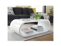 Dwell White Gloss Oval Coffee Table. Modernist Gloss Table In White.
