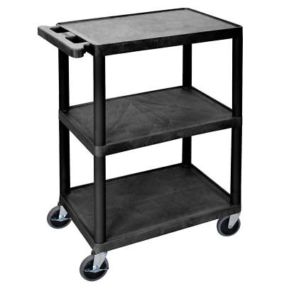 Luxor Black Plastic 3-shelf Utility Cart - 24l X 18w X 34h