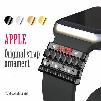 For Apple Watch Has Silicone Band Stainless Steel Trim Ring 38mm/40mm 42mm/44mm