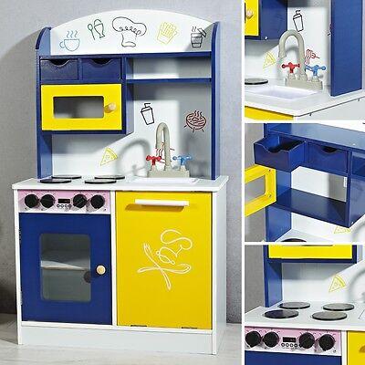 Kinderküche Holz Blau Spielküche Kinder Spielzeug Zubehör Mädchen Küche