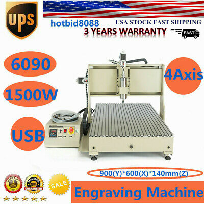 Usb 4 Axis Cnc 6090 Router Engraver Engraving Carving Milling Machine 1500w New