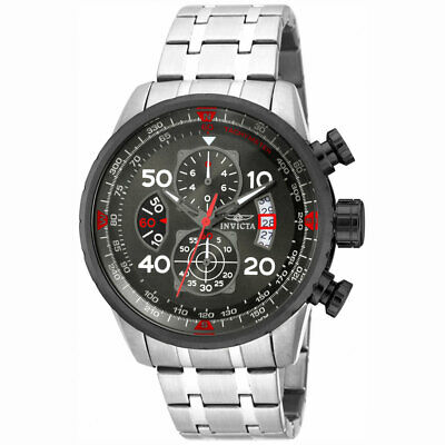 Invicta Men's Watch Aviator Chronograph Gunmetal Dial Steel Bracelet 17204