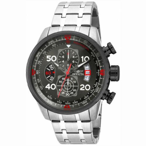Invicta Men's Watch Aviator Chronograph Gunmetal Dial Steel