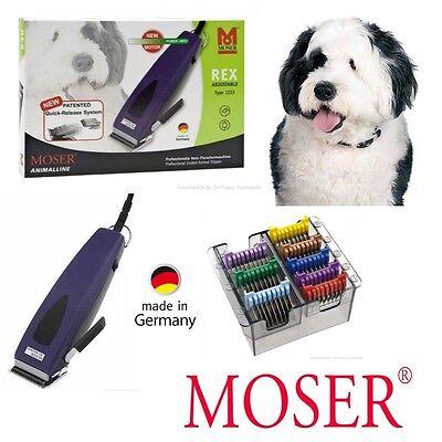Moser Profi Tier Schermaschine REX 1233 + 8 Metallaufsätze. Hundeschermaschine