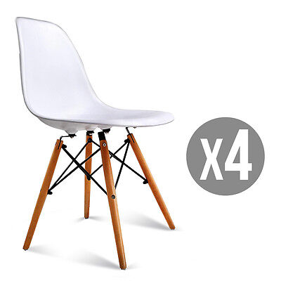 Set Of 4 Mid Century Eames Style Dsw Dining Side Chairs With Wood Legs In White