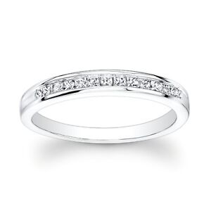 White Gold 0.20ct Princess Cut Diamonds Channel Set Wedding Anniversary Band NEW