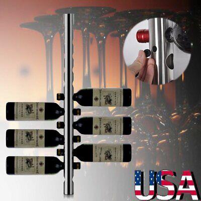 Stainless Steel Wine Rack Bar Wall Mounted Kitchen Holder Hanger 8 Bottles -