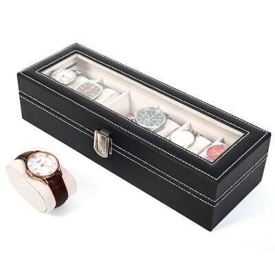 Classy 6 Grids Wrist Watch Display Case Top Glass Jewelry Holder Storage Box