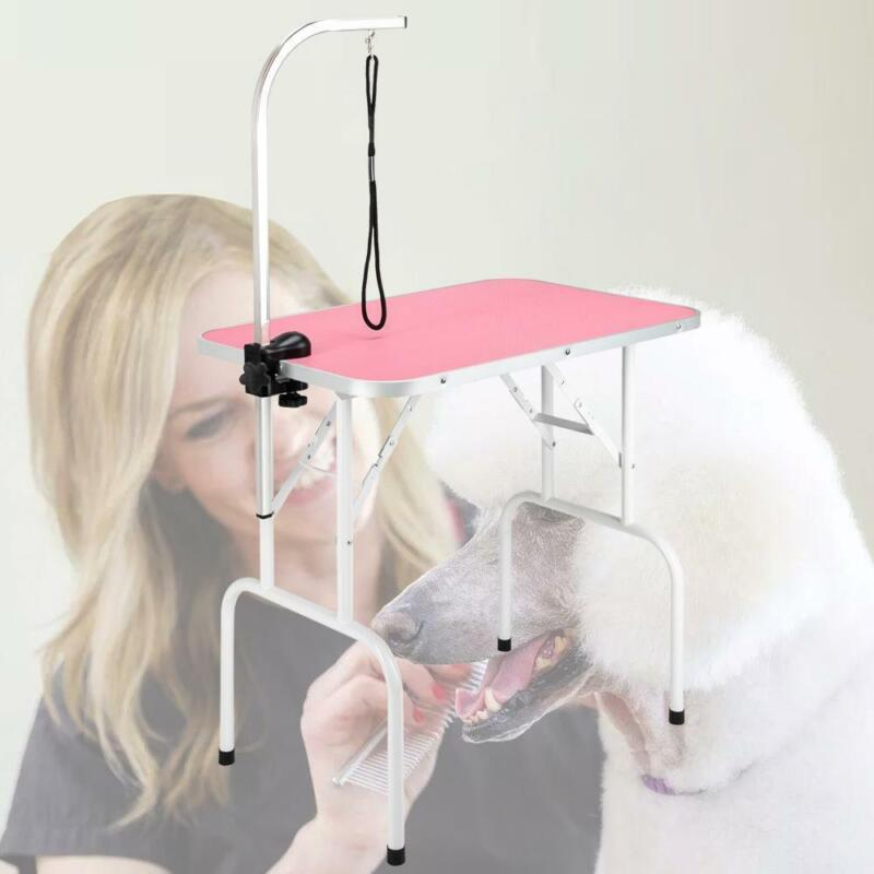 """Healthy Adjustable 32"""" Pet Dog Cat Grooming Table with Adjustable Arm/Noose Pink"""