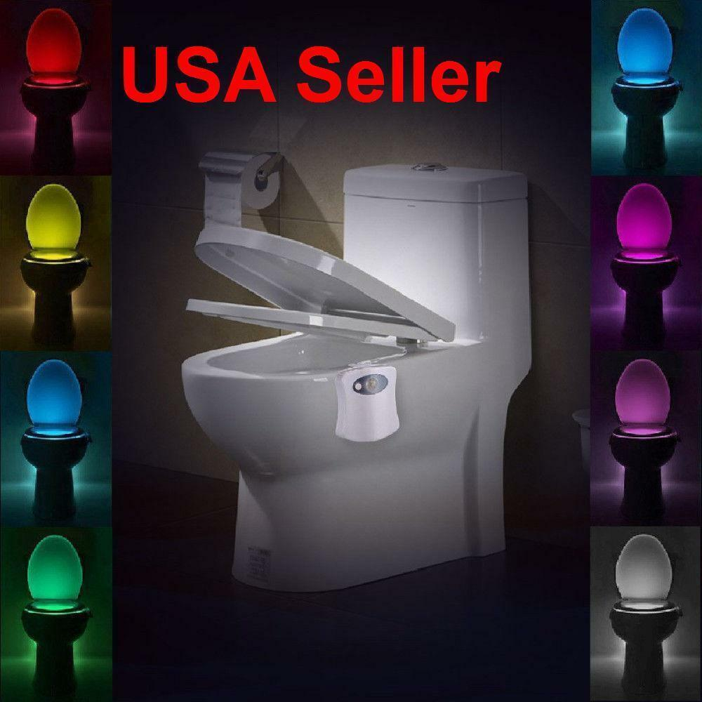 2 PK Bowl Bathroom Toilet LED 8 Color Lamp Sensor Lights Mot