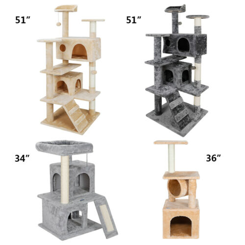 Multiple Sizes Large Cat Kitty Tree Activity Scatch Tower Kitty Play House Plush Cat Supplies