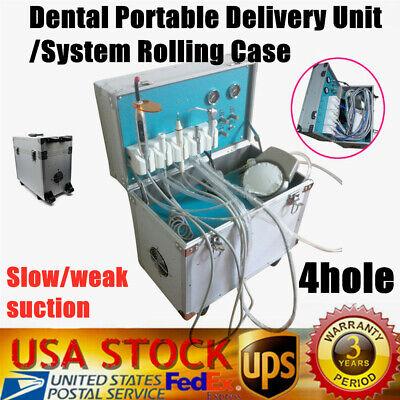 Portable Mobile Dental Delivery Unit System Cart Treatment Work Compressor 4hole