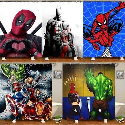 3D Marvel Spiderman Deadpool Batman Fabric Shower Curtain Bathroom Waterproof - Marvel Shower Curtain