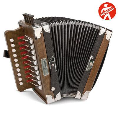 Hohner 3002 Ariette Folk/Cajun Key of C Diatonic Accordion Dark Brown