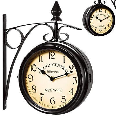 DEUBA® Wanduhr Bahnhofsuhr Küchenuhr Uhr Quarz Retro Look Vintage Antik Schwarz (Uhr Vintage Wand)