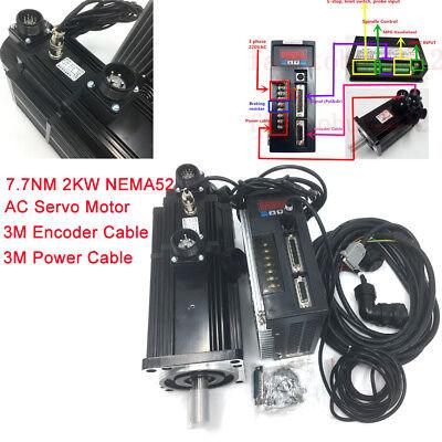 7.7nm 2kw Brake Servo Motor Nema52 Ac 220v Driver 3m Cable 2500rpm Cnc Machine