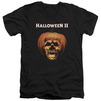 Halloween II Horror Slasher Movie Series Pumpkin Shell Adult V-Neck T-Shirt Tee (Halloween Pumpkin Movie)