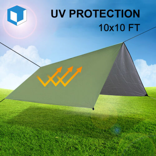 10x10ft Outdoor Camping Rain Fly Tarp Canopy Waterproof Hiking Sun Shade Shelter