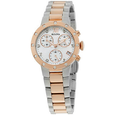 Bulova Diamonds Analog Display Japanese Quartz Two Tone Women's Watch 98R210
