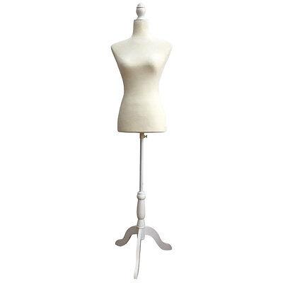 White Foam Female Mannequin Torso Dress Form Display W/ White Tripod Stand