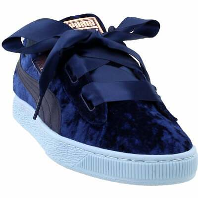 Puma Basket Heart Velour Junior Sneakers Casual    - Blue - Girls