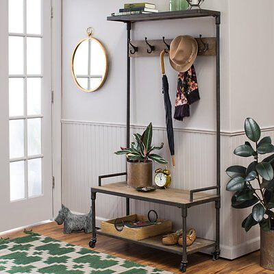 Industrial Style Metal Full Hall Tree Coat Stand Home Living Entryway (Wood Hall Tree Style Coat)